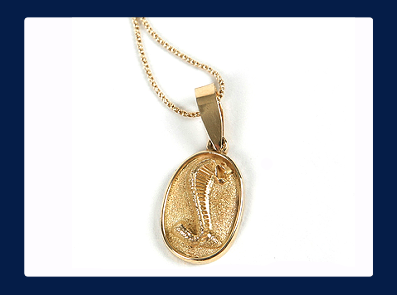 10k Gold Oval Solid Cobra Pendant (Out of stock)