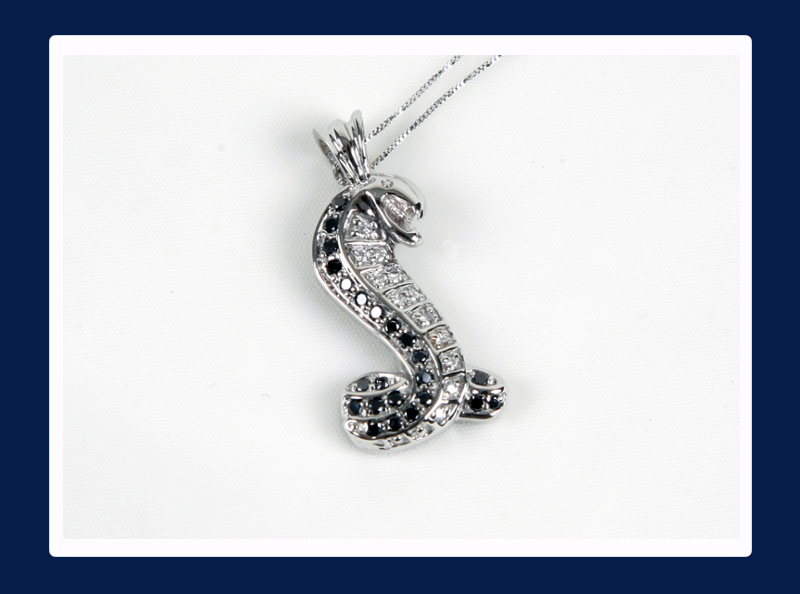 14k Black and White Diamond Cobra Pendant (Out of stock)