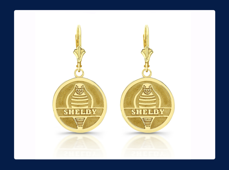 14k Gold Shelby Forward Facing Cobra Snake Charm Earrings (Out of stock)