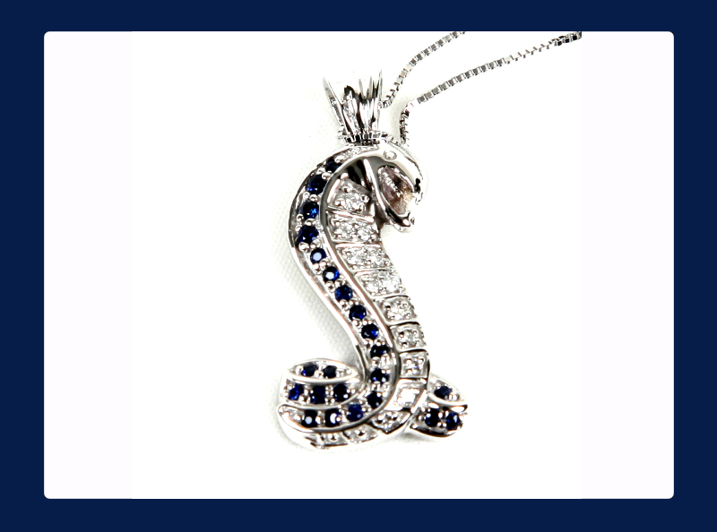 Cobra Snake Pendant with White Diamonds, Blue Sapphires or Rubies (Out of stock)