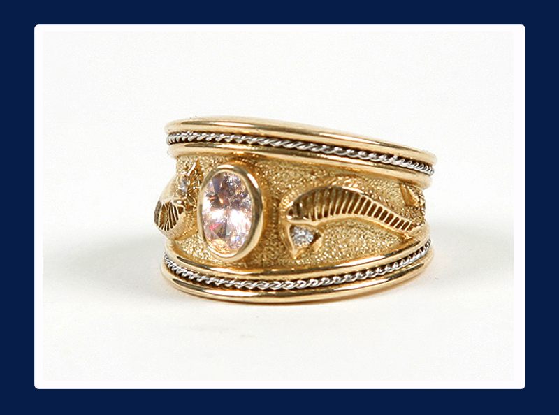 Ladies 18k Gold wide band Ring with Centre Diamond (Out of stock)