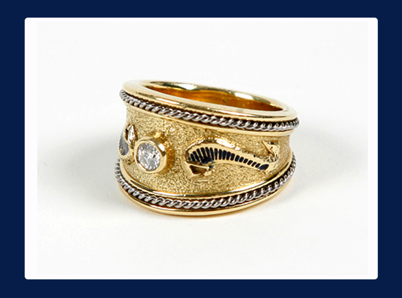Ladies Gold Cobra Ring with centered Diamond (Out of stock)