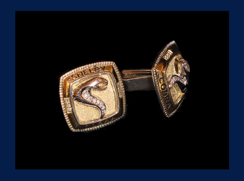 Mens' Shelby Cobra Cufflinks in 14k Gold and Sterling Silver (Out of stock)
