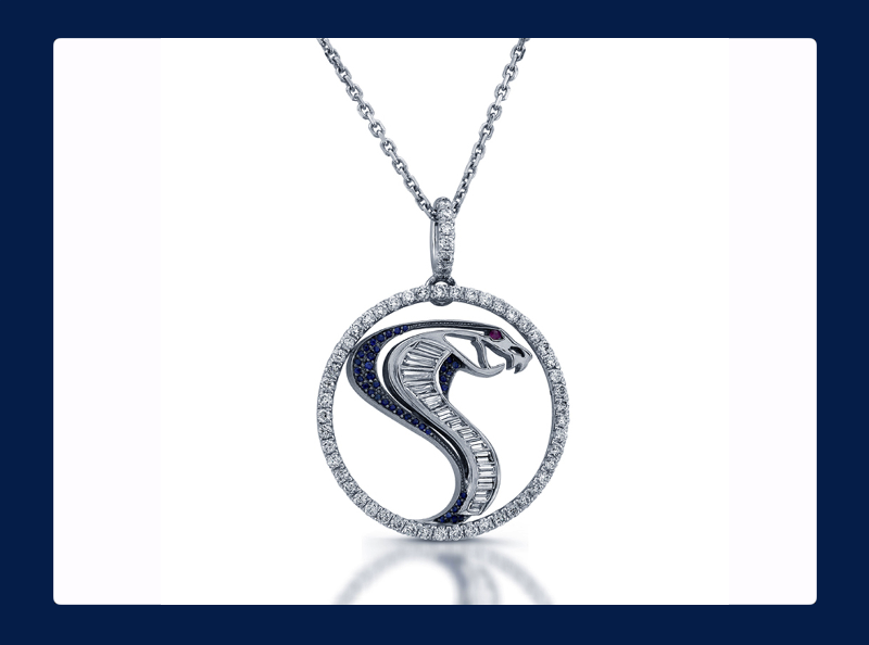 The Shelby French Pave Cobra Pendant White Gold 18k (Out of stock)