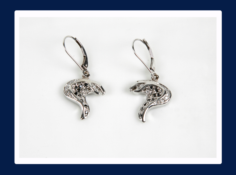 White Gold Cobra Head Earrings with Black and White Diamonds (Out of stock)