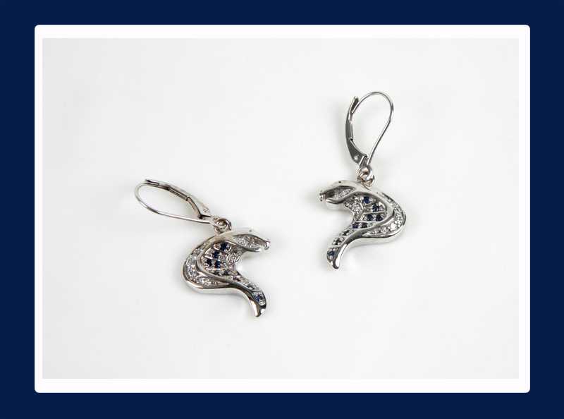 Cobra Head Earrings with White Diamonds and Blue Sapphires (Out of stock)