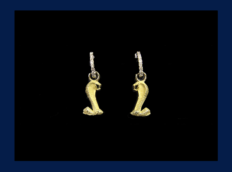 10k 3D Cobra Snake Charm Earrings with Silver Hoops (Out of stock)